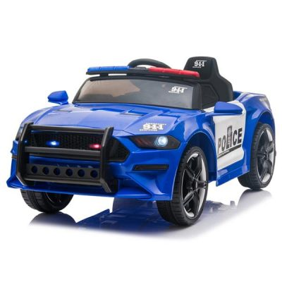 LED 12V Kids Ride on Remote Control Patrol Battery Operated Sports Car with Siren and 2.4 GHZ Microphone Blue All Products