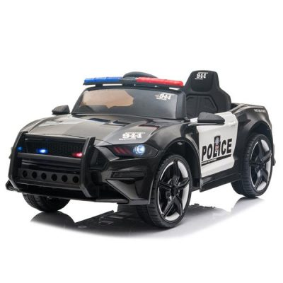 LED 12V Kids Ride on Remote Control Patrol Battery Operated Sports Car with Siren and 2.4 GHZ Microphone Black All Products