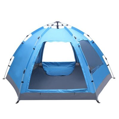 3 to 4 Persons Waterproof Double Door and Window Compact Family Tent for Camping Overnight and other Outdoor Activities UV Protection Blue All Products