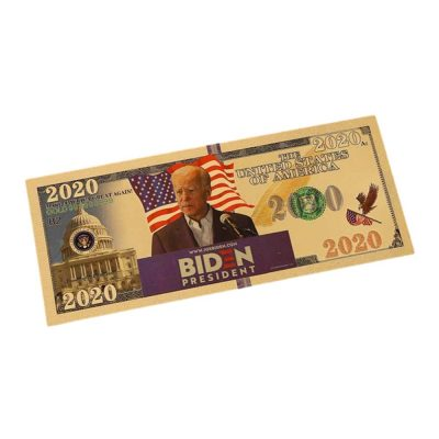 Podium Campaign Gold Foil President Joe Biden 2020 24k Gold Plated Bill Collectible Banknotes for Decoration 24K Gold and Silver Plated Replica Bills