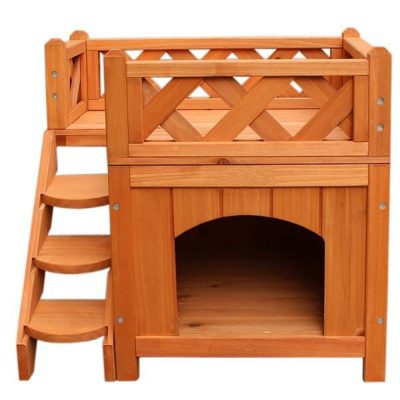 DIY Wooden Tiny Living House Shelter Kennel for Pets with Balcony Easy Set up All Products