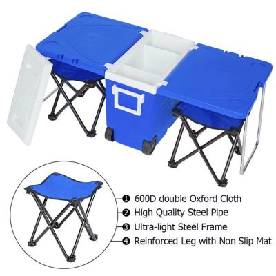 Multifunction Foldable Rolling Portable Picnic Cooler for Outdoor and Stool Blue All Products