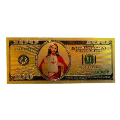 Jesus Christ Image in One Hundred Dollars 24k Gold Plated Bill Collectible Banknotes for Decoration 24K Gold and Silver Plated Replica Bills
