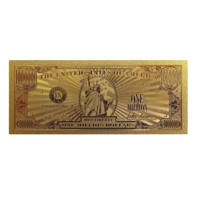 Miss Lady Liberty 1 Million Dollars Original 24K Gold Plated Bill Collectible Banknotes for Decoration 24K Gold and Silver Plated Replica Bills