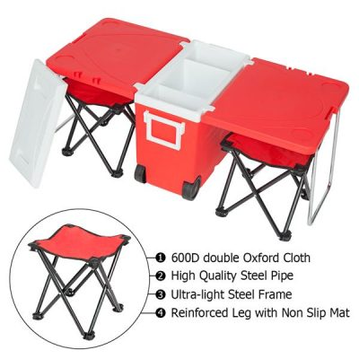 Multifunction Foldable Rolling Portable Picnic Cooler for Outdoor and Stool All Products