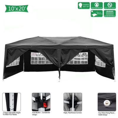 Outdoor Pop up Gazebo 3 x 6m Folding Tent Four Windows Black All Products