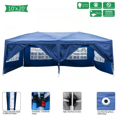 Outdoor Pop up Gazebo 3 x 6m Folding Tent Four Windows Blue All Products