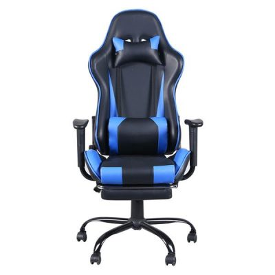 5 Star Feet Ergonomic Home Office and Gaming  Swivel Chair with Footrest Black and Blue All Products