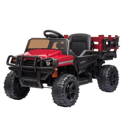 Childrens Car Off Road Vehicle Remote Control LED Lights Music USB 12V 4.5AH Red All Products