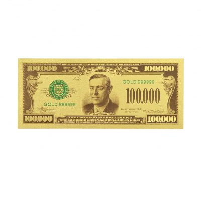 One Hundred Thousand US Dollars 24K Gold Plated Collectible Fake Banknotes for Decoration 24K Gold and Silver Plated Replica Bills