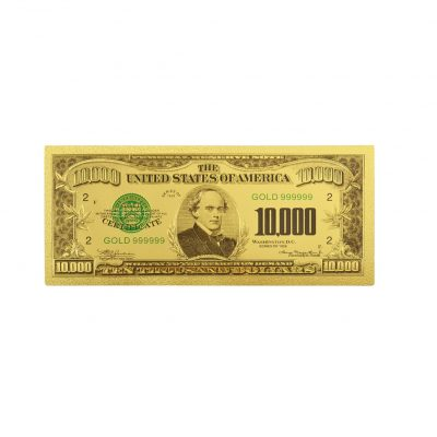 Ten Thousand Thousand US Dollars 24K Gold Plated Collectible Fake Banknotes for Decoration 24K Gold and Silver Plated Replica Bills
