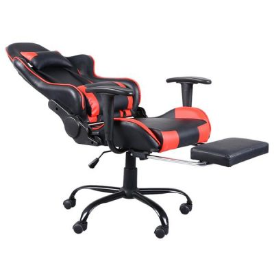 5 Star Feet Ergonomic Home Office and Gaming  Swivel Chair with Footrest Black and Red All Products