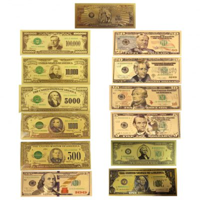 Mega Max 24K Gold Plated US Dollar Fake Banknotes Set of 13 Timeless Collection Protector Sold Separately 24K Gold and Silver Plated Replica Bills