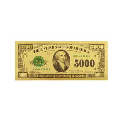 Five Thousand US Dollars 24K Gold Plated Collectible Fake Banknotes for Decoration 24K Gold and Silver Plated Replica Bills