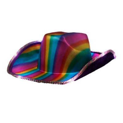 LED Multicolor Lights Metallic Shine Rainbow Space Pride Cowboy Hat All Products