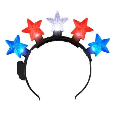 Light Up RWB Patriotic Five Stars Headband 4th of July