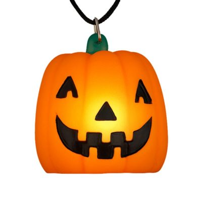Light Up Happy Pumpkin Charm Trick or Treat with Black Cord Necklace All Products