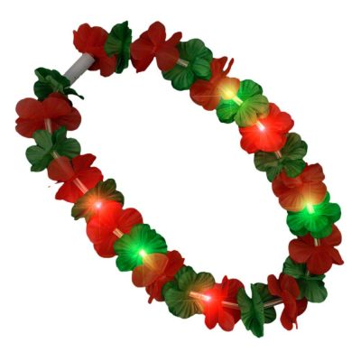 Light Up Hawaiian Flower Christmas Lei Necklace Red Green All Products
